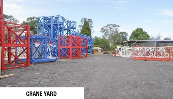 Tower Crane towers stored in crane yard