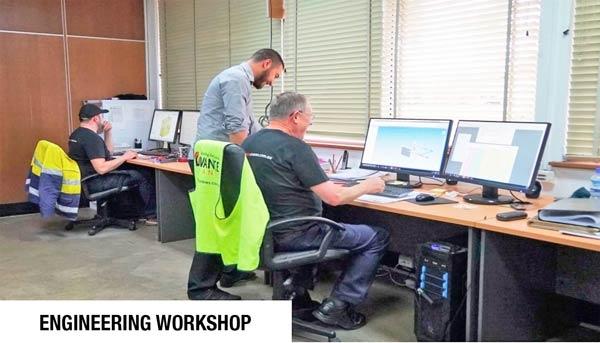 Engineer designing crane base for tower crane